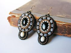 Black White Grey Earrings Bead embroidery Earrings Black Dangle Earrings Beadwork earrings Black Onyx Earrings MADE TO ORDER