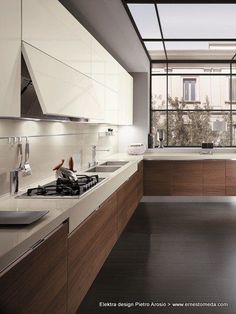 Love the idea of the floating lower cabinets.  Elektra design Pietro Arosio