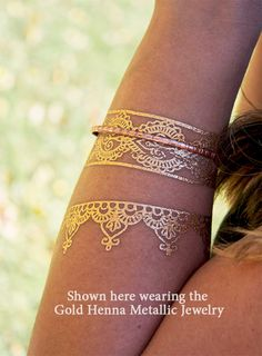 Boho Gold Metallic Bracelets, Trending Flash Tattoos, Jewelry Tattoos, Gold Boho Jewelry, Turkish Henna Bracelets by SkinJewels on Etsy https://www.etsy.com/listing/210046668/boho-gold-metallic-bracelets-trending