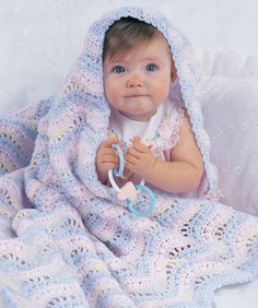 Gentle Ripple Baby Blanket from Red Heart