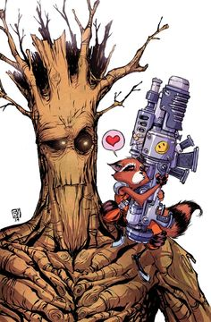 Groot and Rocket Raccoon by Skottie Young. Just fun. Marvel Dc Comics, Bd Comics, Marvel Comic Books, Marvel Vs, Comic Book Characters, Marvel Characters, Marvel Heroes, Comic Character, Comic Books Art