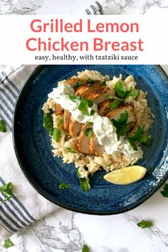 Juicy, flavorful lemon grilled chicken breast with oregano and thyme served with an easy homemade cucumber yogurt dip. This healthy recipe from Slender Kitchen is MyWW SmartPoints compliant, gluten free and low carb. Healthy Side Dishes, Good Healthy Recipes, Healthy Chicken Recipes, Grilling Recipes, Crockpot Recipes, Ww Recipes, Grilled Lemon Chicken, Cucumber Yogurt, Slender Kitchen
