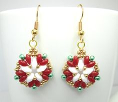 Tudor rose earrings, superduo earrings