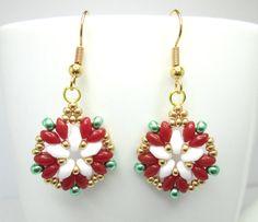 Tudor rose earrings, superduo earrings