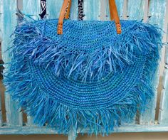 Ocean Blue Raffia Tassel Tote Bags, Leather Strap, Bright Beach Bags, Ladies Tote Bag, Boho Hippie Style Shaggy Bag