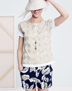 J.Crew women's embroidered herringbone tee, tropical frond pull-on short and mixed tassel necklace. To preorder call 800 261 7422 or email verypersonalstylist@jcrew.com.