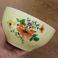 Limoges China Co., Golden Glow Porcelain Bowl, crazing, yellow, orange, purple poppies