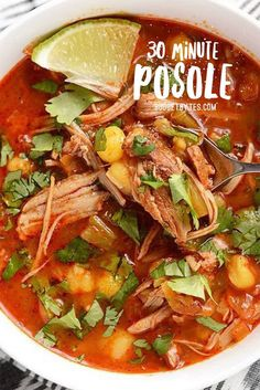Easy 30 minute Homemade Posole - Budget Bytes - - Use your leftover pulled pork and a quick homemade enchilada sauce to make this super fast and easy, intensely flavored 30 Minute Posole. Crock Pot Recipes, Chicken Recipes, Cooking Recipes, Healthy Recipes, Chicken Posole Recipe, Posole Recipe Easy, Posole Recipes, Leftover Pork Recipes, Leftover Pulled Pork