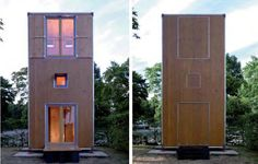 A wooden box, the size of a standard shipping container has been reworked into portable housing. With a small footprint it comprises 3 levels with simple stairs linking dining, kitchen and toilet on the lower level, sleeping on the middle and living on the top. Usable floor area is 14 sq m with a footprint of only 7 sq m. Designed by German architectural firm Slawik as emergency or temporary housing this clever design experiment gets the mind thinking. A studio at the bottom of the garden?…