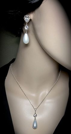 Pearl necklace and earring set  Bridal by QueenMeJewelryLLC, $74.99