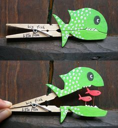 Big fish, little fish, clothespin   Could make into visual for Jonah and the whale.