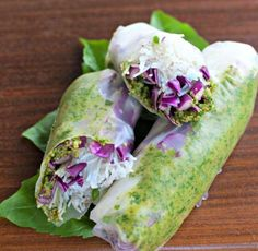 "beautifulpicturesofhealthyfood: ""Fresh Thai Pesto and Purple Cabbage Spring Rolls…RECIPE "" Thai Spring Rolls, Vegetable Spring Rolls, Fresh Spring Rolls, Summer Rolls, Raw Food Recipes, Asian Recipes, Dinner Recipes, Cooking Recipes, Vietnamese Recipes"