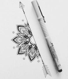 tattoos back of arm above elbow - tattoos back ; tattoos back of arm ; tattoos back of neck ; tattoos back women ; tattoos back spine ; tattoos back shoulder ; tattoos back of arm above elbow ; tattoos back of leg Doodle Art Drawing, Mandala Drawing, Pencil Art Drawings, Drawing Flowers, Henna Drawings, Mandala Sketch, Arrow Drawing, Drawing Ideas, Paper Drawing