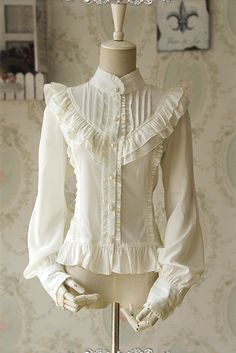 White Lolita Blouse Ruched Chiffon Lace Shirt for Women - New In Tops Victorian Fashion, Vintage Fashion, Victorian Shirt, Chiffon Shirt, Lolita Dress, Mode Outfits, Lolita Fashion, Gothic Lolita, Blouse Designs