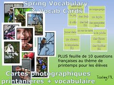 $ Talking about le printemps in your French (or foreign language) class? This set of Spring Vocabulary Posters includes 10 full-colour images divided into puzzles with 4 sections. Same images included in black and white format 15 vocabulary cards to accompany the images (with multiple matches possible in some cases). Encourage your students to generate additional vocab based on the images & use that to discuss preferences and wishes for the spring season!