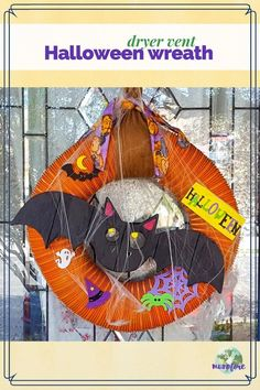"""From trash to treasure - an old dryer vent becomes a festive Halloween wreath. Halloween craft, dryer vent pumpkin, easy Halloween decoration. #halloweenwreth #upcycle #trashtotreasure"""" Halloween Festival, Halloween Night, Halloween Crafts, Halloween Ideas, Holiday Crafts, Great Halloween Costumes, Easy Halloween Decorations, Wood Crafts, Diy Crafts"""