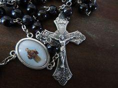 Vintage Antique Rosary Catholic Black Beads by HighPointFarm2010