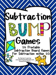 Subtraction Games 25 Subtraction Bump Games by Games 4 Learning $ This collection of subtraction games contains 25 Subtraction Bump Games that review a variety of subtraction skills with subtraction within 20.