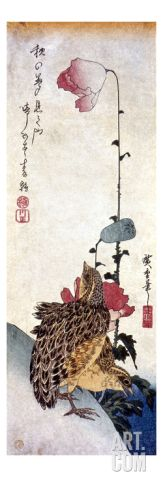 """Ando Hiroshige (1797 – 1858), Ukiyo-e artists, translated  landscapes into graceful, poetic forms. Orphaned at 12, took over his father's firefighting job and was soon inspired to become an artist like his role model, the esteemed Hokusai. He origidepicted traditional subjects such as women and actors, and later won fame as a landscape artist. masterpiece, """"53 Stations of the Tokaido,"""" and other landscapes, utilized unusual vantage points. popular,   travels astounding 5,400 prits. art.com"""