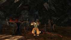 Aaron shows off his charr character.