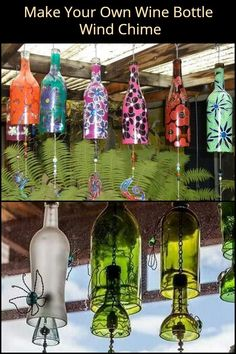 Don't throw away your empty bottles; turn them into wind chimes! bottle crafts wind chimes Make Your Own Wine Bottle Wind Chime Wine Bottle Chimes, Glass Bottle Crafts, Wine Bottle Art, Diy Bottle, Recycled Wine Bottles, Painted Wine Bottles, Empty Bottles, Reuse Wine Bottles, Wind Chimes Craft