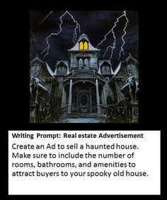 Create an advertisement for a Haunted House writing prompt Photo Writing Prompts, Creative Writing Prompts, Halloween Writing Prompts, Persuasive Writing Prompts, Writing Rubrics, Paragraph Writing, Writing Ideas, 5th Grade Writing, Writing Classes