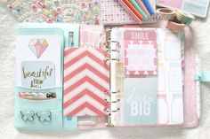 my mint kikki k planner set up « ariestrash - DIY and Crafts Kikki K Planner, Cute Planner, Happy Planner, Pink Planner, Agenda Planer, Planner Stickers, Planer Organisation, Midori, Ideias Diy