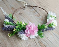 NEW IN Lavender silk flower crown with pink and white flowers, wedding crown, purple wreath. This lavender silk flower crown features a collection of wild flowers including lavender sprigs, pink and white wild flowers and foliage. This purple, pink and white combination makes you feel Spring is in the air and can match a wide range of occasion.