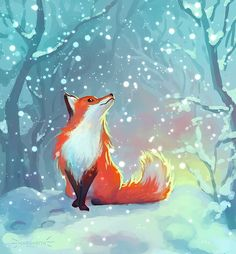Fox World : margaritash: Winter fox! It has been so snowy. Animal Drawings, Cute Drawings, Cute Fox Drawing, Winter Illustration, Illustration Art, Illustrations Vintage, Fuchs Baby, Drawings Pinterest, Fox Painting