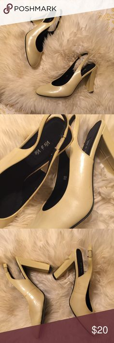 Pearl sling back pumps NOS vintage shoes, never worn but do have some small marks on the inside of foot as shown.  Shimmery cream patent leather with a sturdy block heel.  A classic style that's seen in modern brands like topshop, Zara and j crew.  Ask questions or make an offer  Vintage Shoes Heels