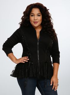 Tripp Lace Peplum Hoodie - Why rock a basic hoodie when you can add a little gothic glam to the mix? This stretchy black cotton style is lounge-worthy, but meant to be seen with its satin lace up panels, delicate lace hood, and flared lace peplum trim. - $54.50