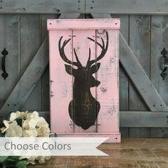 rustic girl's nursery, Pink Camo, Rustic Nursery Decor, Deer Head Silhouette, pink…