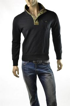 Mens Polo Ralph Lauren Sweatshirt Navy French Mock L/S Sweater Shirt Sz M NWT #RalphLaurenPolo #12Zip