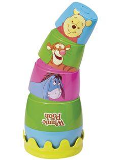 Nalle Puh -pinopurkeista on on moneksi: Niistä syntyy torni, joka on hauska kaataa kumoon. Muodot tulevat tutuiksi, ja iloiset värit ja hauska kuviointi innostavat lasta leikkiin. Ikäsuositus yli 6 kk.