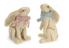 "Set of 2 Sitting Bunny Rabbits with Long Ears and a Bow 10"" Melrose http://www.amazon.com/dp/B00O3H74TQ/ref=cm_sw_r_pi_dp_8XySvb0Y11HH6"