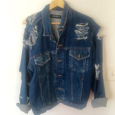 Distressed Oversized Denim Jacket (distressed by hand) ($49) ❤ liked on Polyvore featuring outerwear, jackets, jean jacket, oversized denim jacket, oversized jacket, distressed jean jacket and blue jackets
