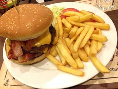 Hamburger and chips...have a good dinner!...
