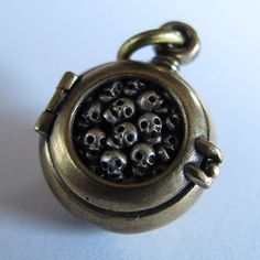 steampunk mourning locket  SKULL LOCKET bronze with by jewelsvine, $99.00