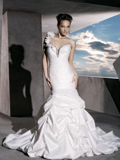 ruched taffeta perfect sweetheart wedding dress with one shoulder strap