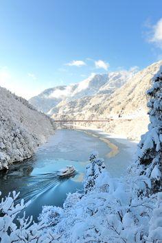 Frozen in Sho River, Nanto, Toyama, Japan