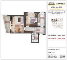 Apartamente de vanzare Mihai Bravu Residence 10 -2 camere tip C Floor Plans, Floor Plan Drawing, House Floor Plans