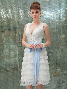 Wishesbridal Knee Length Lace A Line Wedding Dress