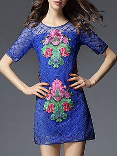 Buy it now. Blue Gauze Embroidered Sheer Shift Dress. Blue Round Neck Half Sleeve Polyester Shift Short Embroidery Fabric has no stretch No Summer Casual Day Dresses. , vestidoinformal, casual, camiseta, playeros, informales, túnica, estilocamiseta, camisola, vestidodealgodón, vestidosdealgodón, verano, informal, playa, playero, capa, capas, vestidobabydoll, camisole, túnica, shift, pleat, pleated, drape, t-shape, daisy, foldedshoulder, summer, loosefit, tunictop, swing, day, offtheshould...