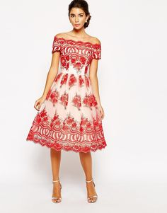 Chi Chi London Premium Embroidered Off Shoulder Prom Dress