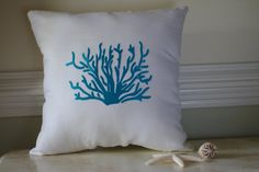 Beach Decor Turquoise Blue Throw Pillow by ByTheSeashoreDecor, $58.00