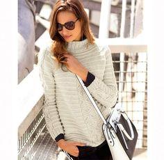 Пуловер покроя реглан с «косой» - Вязаные модели спицами для женщин