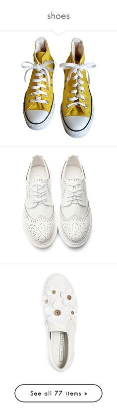 """""""shoes"""" by gb041112 ❤ liked on Polyvore featuring shoes, sneakers, converse, yellow, yellow sneakers, converse footwear, yellow shoes, converse shoes, converse sneakers and flats"""