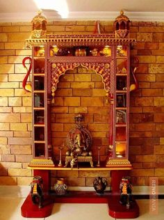 Since we are close to the festive season, why not give your temple a lovely makeover. These Mind Calming Wooden Home Temple Designs will help you in that. Temple Room, Home Temple, Wooden Temple For Home, Jain Temple, Pooja Room Door Design, Ceiling Design Living Room, Temple Design For Home, Mandir Design, Puja Room