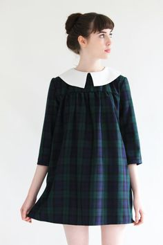 Mod Dolly Olivia Green Tartan Babydoll Smock Dress by moddolly