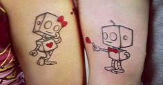 Cute Unique Couple Tattoos His and Her Robot | tattoos and such ...